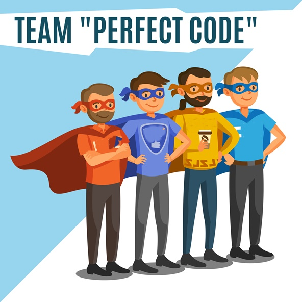 Programmers, developers, process coding, teamwork. Programming c